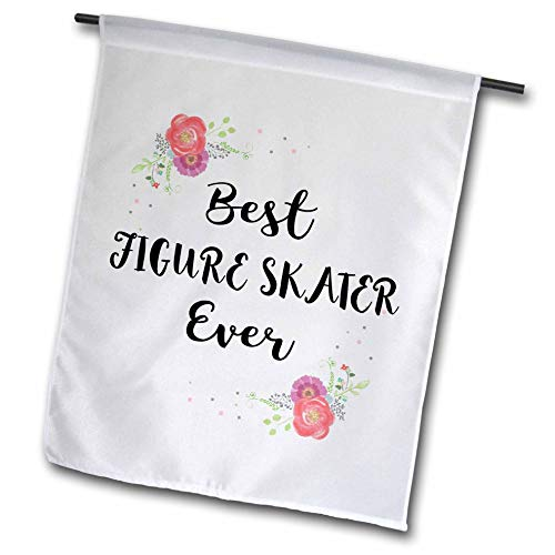 3dRose InspirationzStore - Love Series - Floral Best Figure Skater Ever Watercolor Pink Flowers ice Skating - 12 x 18 inch Garden Flag (fl_317262_1)
