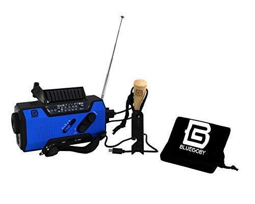 BLUEGOBY Solar Crank NOAA Emergency Weather Radio with AM/FM, Flashlight, Reading Lamp and 2000mAH Power Bank Disaster Phone Charger with Fire Starter Stick (Blue) by BLUEGOBY (Image #8)