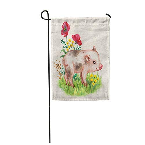 "Semtomn 28""x 40"" Garden Flag Cute Miniature Pig Walking on Green Grass Near Red Poppies Vintage Home Outdoor Decor Double Sided Waterproof Yard Flags Banner for Party"