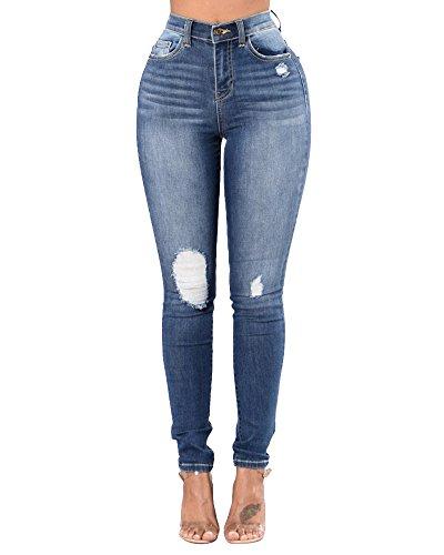 Denim Pantalones Elásticos Skinny Slim Jeans Vaqueros de Mujer Como La Imagen
