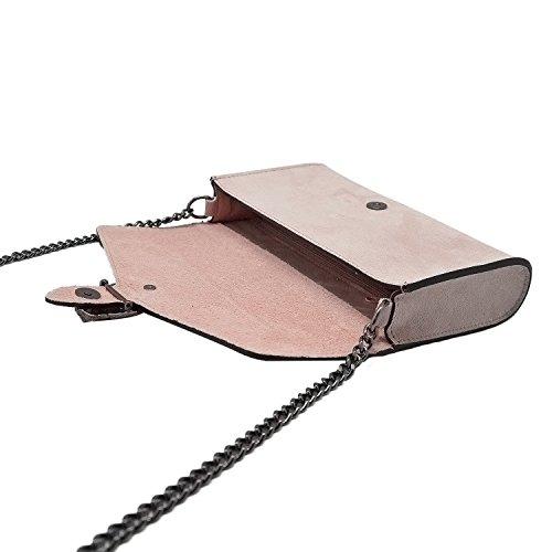 Metallo Pochette Pelle Cipria E A Borsa Italy Made Rachel myitalianbag Tracola Liscia Nudo Camoscio Spalla Catena In Accessori UEwvEFxqC