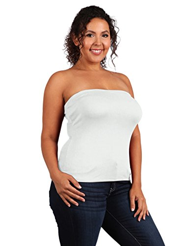 UU Fashion Womens Plus Size Solid Strapless Tube Top (1X, WT1007_IVORY)