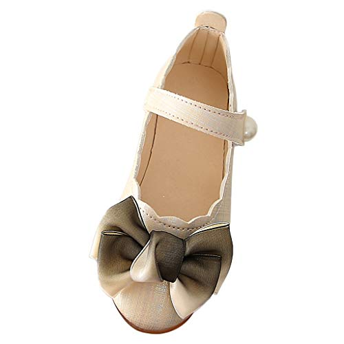 (Tantisy ♣↭♣ Baby Girls Shoes Mary Jane Flats Princess School Ballet Flower Dress Shoes for Toddler/Little Kid/Big Kid Khaki)