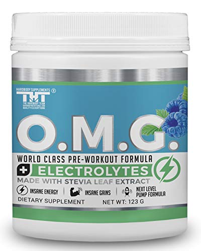 OMG Preworkout for Men and Women with Electrolytes and Stevia Extract Scientifically Crafted Boost Energy, Stamina,Mental Clarity,Focus and Performance 15 Servings, Blue Raspberry