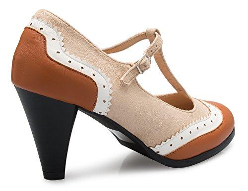 Olivia Retro Jane Round Heels Toe Womens Mary Vintage Beige K Pumps Color Tan Two Low Shoe trvr1wq