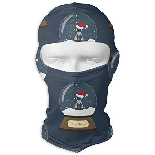 Dachshund Snowglobe - AmoVirg Balaclava Full Face Mask Hood Christmas Snow Globe with Cat Tactical Full Face Cover Neck Warmer Face Mask Unisex Winter Warm Ski Mask