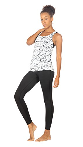 icyzone Yoga Tops Workouts Clothes Activewear Built in Bra Tank Tops for Women (S, Chinese Ink)