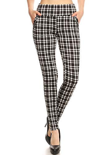 (ShoSho Womens Skinny Pants Slim Fit with Pockets & Zippers Treggings Plaid Black/White Medium)