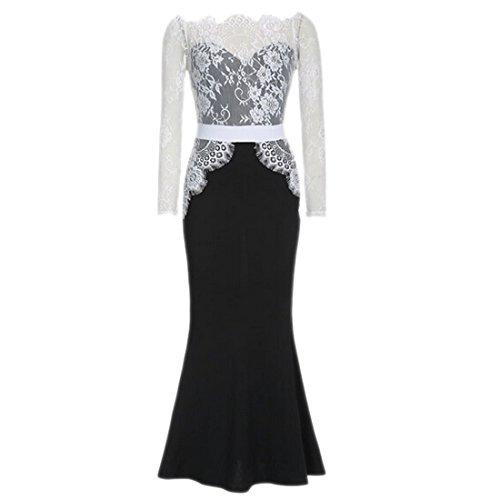 tapa cola moichien boda de vestido elegante negro de Ai maxi sexy pez encaje manga de soiree largo de Fq8RR1