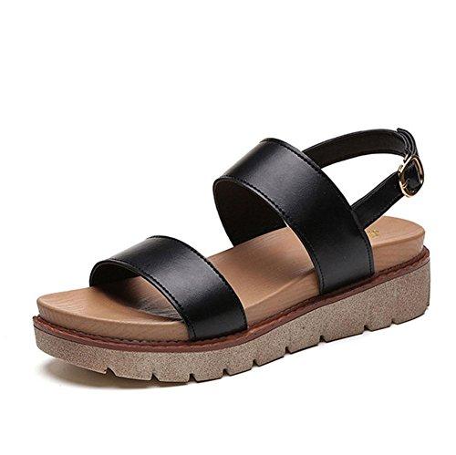 sandalias abiertas cabeza de pescado zapatos de la comodidad femenina salvajes ocasionales Black