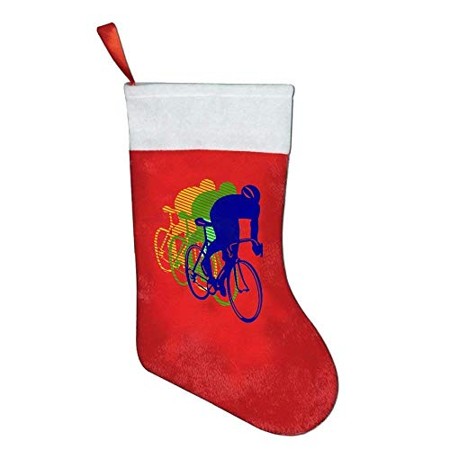 - Spanwell Racing Bike Bicycle Red Felt Christmas Holiy Stockings White Plush Cuff Red Hanging Tag for Christmas Party