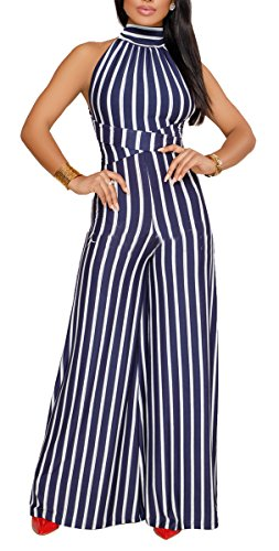 Big Leg Women (sexycherry Women's Sexy Halter Strap Stripe Sleeveless High Waisted Wide Leg Long Pants Backless Jumpsuits Rompers)