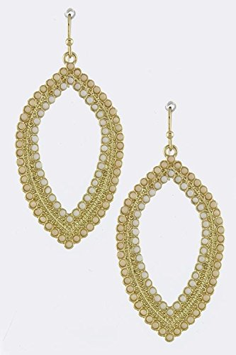 KARMAS CANVAS BEADED OVAL FRAME EARRINGS (Ivory)