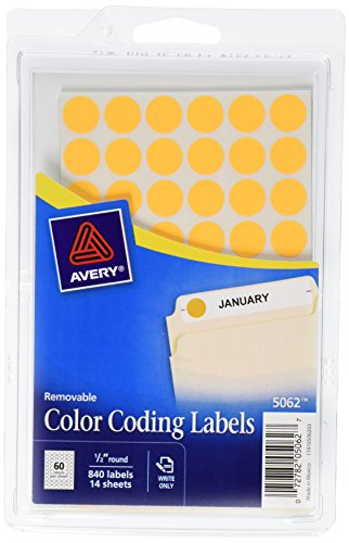 Removable Round Color Coding Labels (Avery Removable Color Coding Labels, 0.5 Inch, Round, Neon Orange, Pack of 840 (5062))