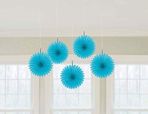 amscan Caribbean Blue Mini Hanging Fans, 5 Ct. | Party Decoration