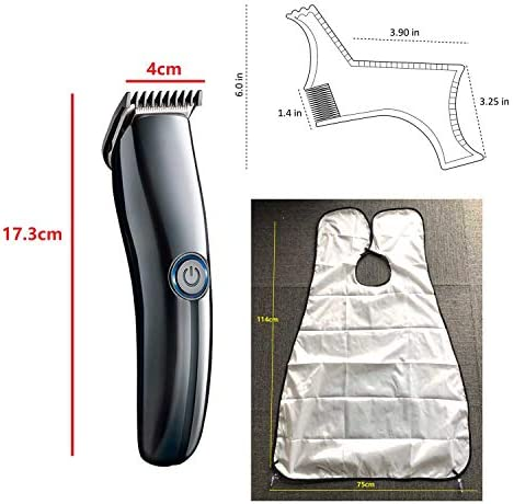 USB Hair Clipper Trimmer Beard Shaver Styling Comb and Beard bib Set, Body Trimmer Nose Trimmer Hair Cutting Kit Waterproof Family Use for Men  LpDF3