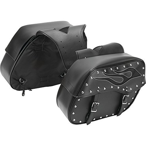 - Diamond Plate 2pc Motorcycle Saddlebag Set with Flame Design