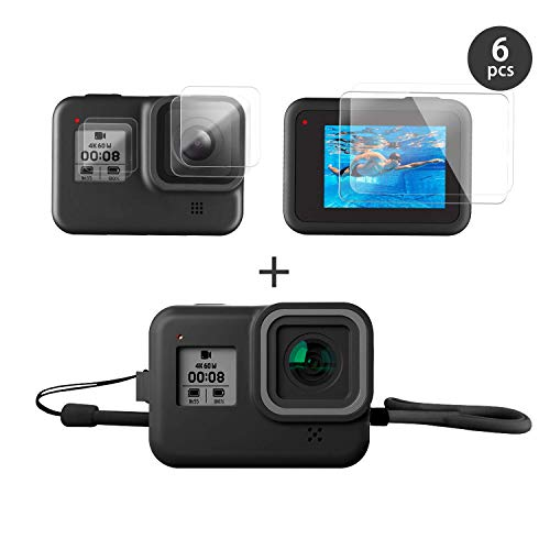 FINEST+ Accessories Kit for GoPro Hero 8 Black with Silicone Rubber Protective Case + Tempered Glass Screen Protector + Tempered Glass Lens Protector + Small Display Film Bundle for for Go Pro Hero8