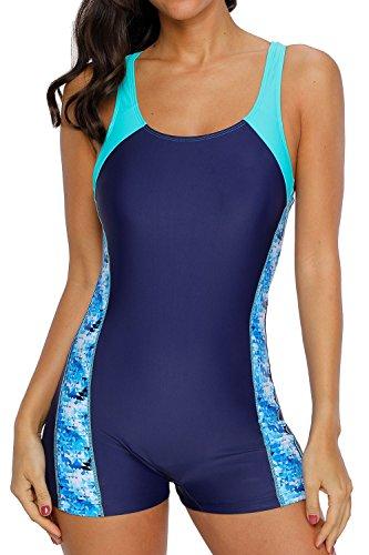 beautyin Women's Boyshort One Piece Swimsuit Racing Training Sport Swimming Suit,Aqua,Size US 10 , Asian Medium
