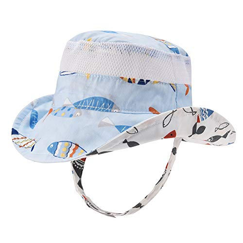 Baby Toddler Safari Sun Protection Hat 50 UPF - Double-Sided Available Kids Breathable Bucket Summer Play Hat (Boys, 52cm)