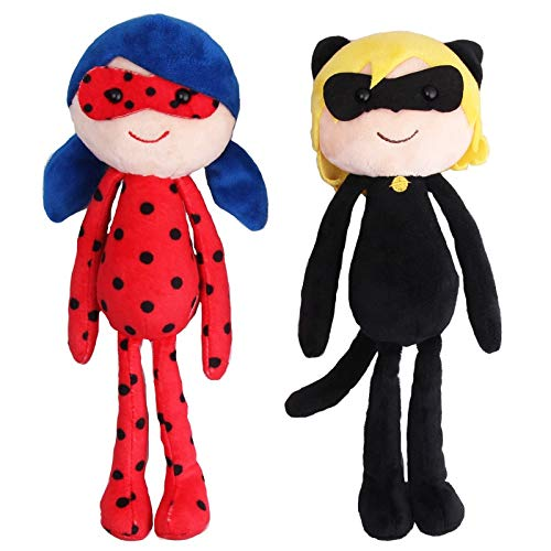 PAPWELL Miraculous Ladybug Toys 9.8 inch Cat Noir Adrien Marinette Big Plush Toy Large Huggable Stuffed Birthday Gift Collectable Gifts Cute Halloween Collectibles Cool Doll Collectible Kids (2pcs)