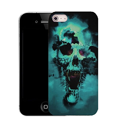 Mobile Case Mate IPhone 5S clip on Silicone Coque couverture case cover Pare-chocs + STYLET - blue holed skull pattern (SILICON)