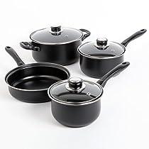 Sunbeam Newbrook 7-Piece Cookware Set, Black