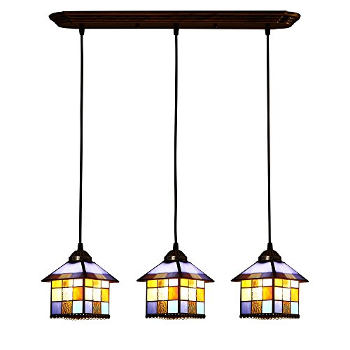 - Bieye L10199 8-inches Mediterranean Tiffany Style Stained Glass Ceiling Pendant Fixture with 3-Light