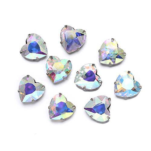 Greatdeal68 Heart Glass Rhinestone Sew-on silver settings montee beads with 4 holes Crystal/ Crystal AB/ Color (Crystal AB, 18mm (8 pcs))