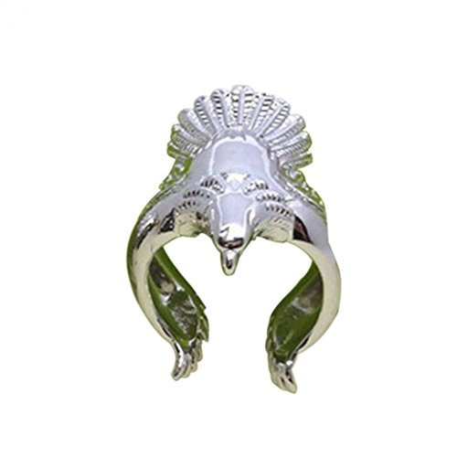 (Ameesi Unique Flying Eagle Biker Ring Cool Punk Men's Animal Vintage Open Ring Jewelry - Silver)