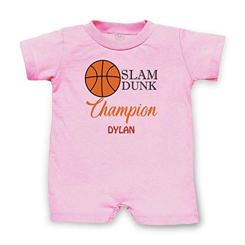 Personalized Custom Basketball Slam Dunk Champion Cotton Short Sleeve Tapped Neck Boys-Girls Infant T-Romper Jersey Tee - Soft Pink, 6 Months