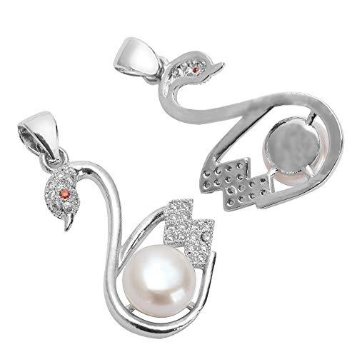 2pcs Top Quality Silver Swan Pendant with Natural Pearls & Man Made Diamond Simulants # MCAC41