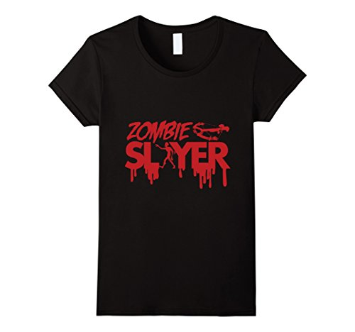 Womens Zombie Slayer T-Shirt | Spooky Halloween Dead Hunter Costume Medium Black