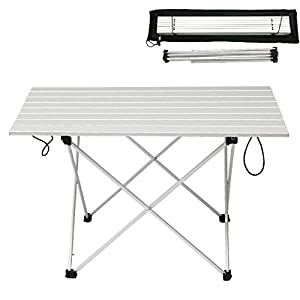 WSTECHCO XL Ultralight Aluminum Folding Camping Table Collapsible Portable Coffee Tables Lightweight Outdoor Fold Up Desk With Bag Camping Pcnic Tables Fishing 27x18x16 Inch