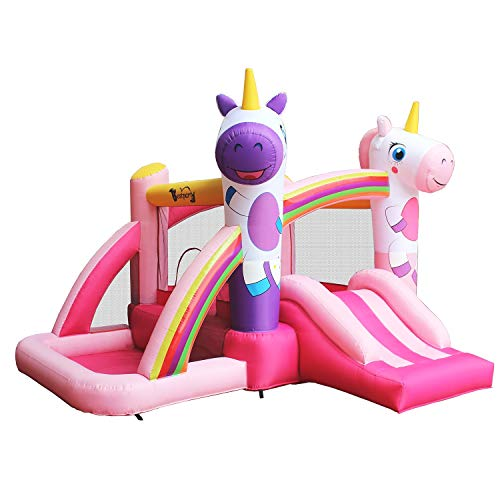 BestParty Inflatable Bouncer with Slide for Princess Pink Unicorn Bounce House