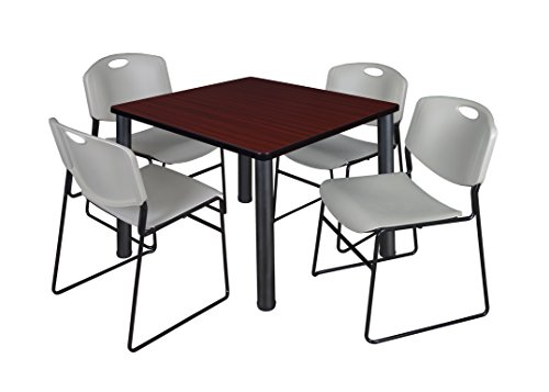 "Kee 36"" Square Breakroom Table- Mahogany/ Black & 4 Zeng Stack Chairs- Grey"