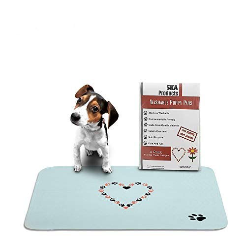 Cute Washable Puppy Pee Pads   4 Pack Flower, Heart Designs   Large Super Absorbent Wee Wee Potty Mats   Dog Housebreaking, Pet Crate Training   Multi-Purpose Reusable Eco-Friendly   Whelping ()