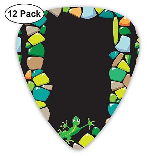 (Guitar Pick 12 Pack Colored Stones Lizard - Guitar Picks for Musician)