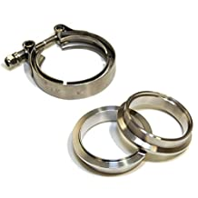 "Yonaka Motorsports 2.5"" V-Band Flange Clamp Assembly Kit 304 Stainless Steel Male Female Set"