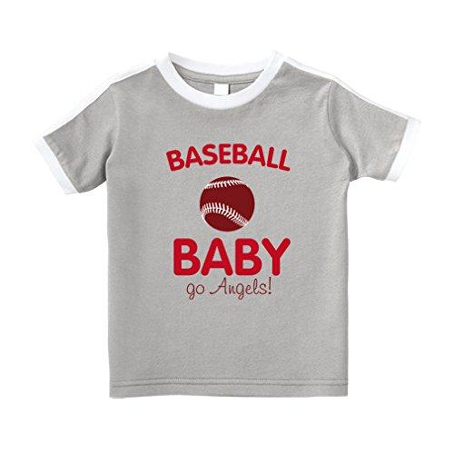 Angel Toddler T-shirt (Cute Rascals Baseball Baby Fan Go Angels! Baseball Cotton Short Sleeve Crewneck Unisex Toddler T-Shirt Soccer Tee - Oxford Gray, 3T)