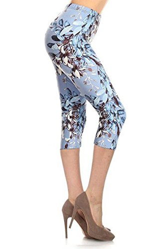 Leggings Depot Women's Butterknit Capri Cropped Printed Leggings Tights Batch6 (One Size (Size 0-12), Blue and White (Capri Iris)