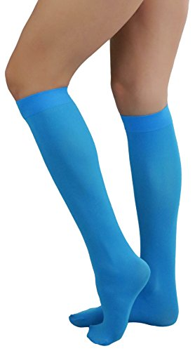 ToBeInStyle Women's Sexy Opaque Warm Knee High Long Socks Hosiery - Turquoise - One Size -