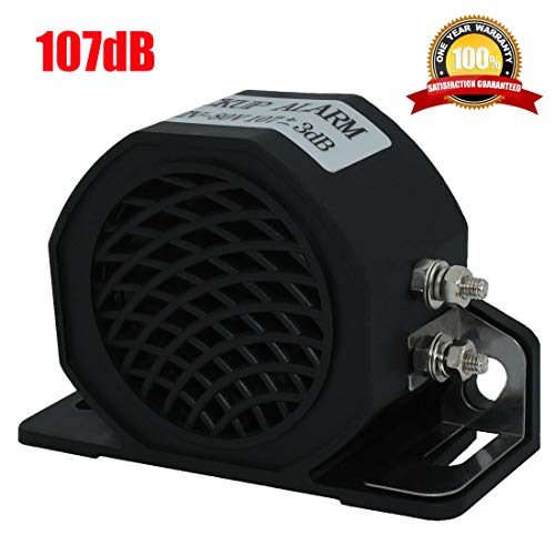 MIRKOO Car Back-up Alarm, 107dB 12V-80V DC Waterproof Industrial Heavy-Duty Backup Reverse Warning Alarm with Super Loud Beeper Tone for Truck Van Freight Car Lorry Heavy Vehicles ()