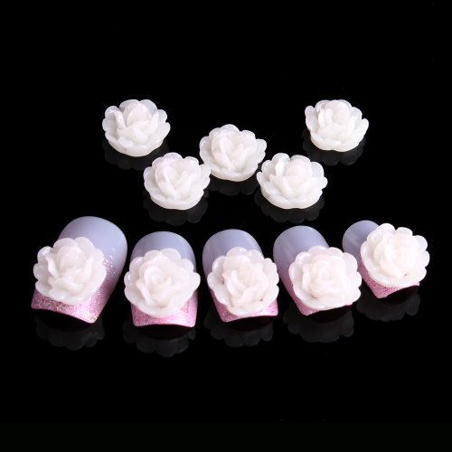 YESURPRISE 20pcs Acrylic 3D Flower Stickers Beads Nail Art Tips DIY Decorations Transparent