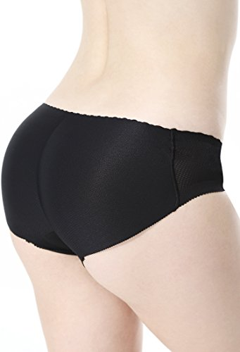 Everbellus Women's Padded Seamless Butt Hip Enhancer Panties Boy Shorts (US SIZE M, Black)