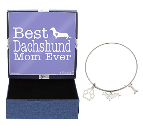 Best Dachshund Mom Ever Bracelet Gift Love Dog Breed Silhouette Adjustable Bangle Charm Silver-Tone Bracelet Gift Dachshund Owner Jewelry Box
