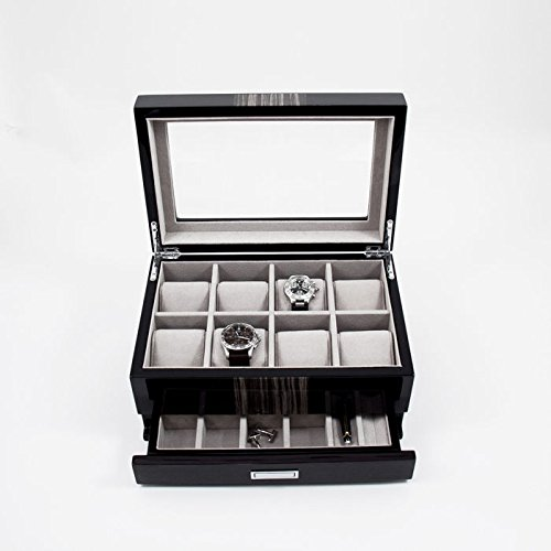 Bey Berk Lacquered ''Wenge'' Wood 8 Watch Box with Glass Top, Drawer for Cufflinks & Pens. by Bey-Berk