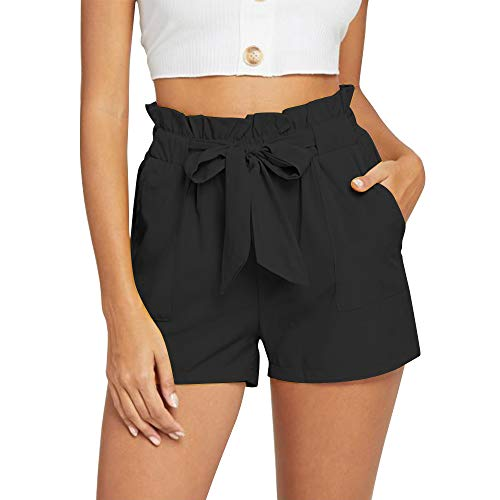 NEWFANGLE Women's Casual Paper Bag Shorts Elastic Tie Waist with Pocket Comfy Summer Shorts for Women,Black,XXL