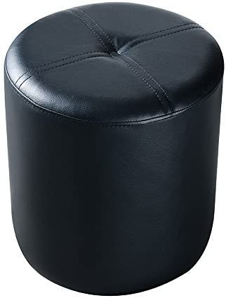Kings Brand Furniture Josue Round Ottoman Stool, Black Vinyl