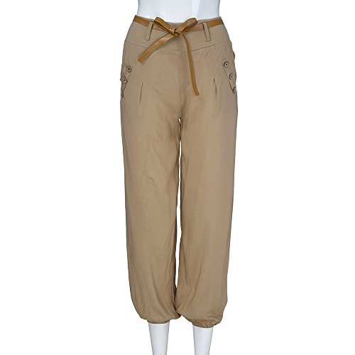 NINGSANJIN Casual Pantalon Femme Yoga Sarouel Harem Culotte Cuir Kaki Fluide Aladin Mode avec Elastique Bouffante en Ceinture Pantalon arawBFqx
